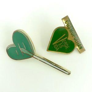 Enamel pin set heart lollipop & green in life pins
